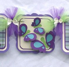 Butterfly baby shower banner, nancysbannerboutique, butterfly decorations, purple, green, teal, it's a girl banner, etsy, handmade banner, photo prop