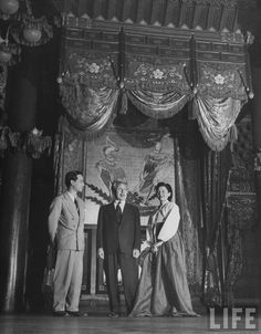 Seoul, Korea, 1947  Photographer John Florea  Time Life Pictures  창덕궁 인정전 어좌   Prince Yi Kang, along with Sukil Lee and his wife, standing inside the throne room of Chang Duk paace.
