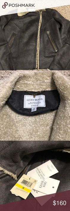"Lucky Brand Bomber Moto Jacket New with tags.  Measures 19.5"" from armpit to armpit, 22"" shoulder to bottom, 24"" from shoulder to arm opening.  Jacket is lined with faux shearling fur and has an acrylic/poly shell that looks like leather.  Style # LB520118T74. Lucky Brand Jackets & Coats Utility Jackets"