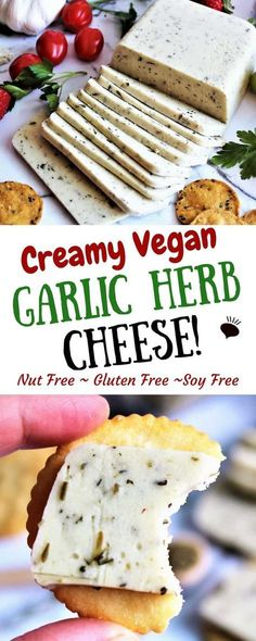 This garlic herb vegan cheese is perfect for slicing and eating on crackers. Made with coconut milk it is dairy free gluten free and nut free anyone will enjoy this creamy and delicious vegan cheese. Make this into sliceable vegan cheese or into vegan Vegan Cheese Recipes, Vegan Foods, Vegan Snacks, Vegan Dishes, Dairy Free Recipes, Vegan Gluten Free, Vegetarian Cheese, Vegan Lunches, Meatless Recipes