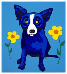 I didn't understand the significance of Blue Dog Art until one of my youngest paint students continued to ask to look at paintings of blue dogs. Blue Dog Art, Blue Art, Blue Dog Painting, Dog Paintings, My Favorite Color, Favorite Things, American Artists, Art Lessons, Painted Rocks