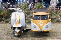 vespa-scooter-with-volkswagen-kombi-van. SOMEONE SHOW MY MOM FOR MY BIRTHDAY. I NEED THIS.