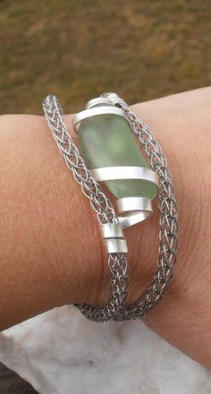 Silver viking knit bracelet with sea glass by SeaglassPetraDesigns on Etsy