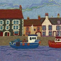 """좋아요 37개, 댓글 2개 - Instagram의 Jane Jackson(@brightseedtextiles)님: """"Eyemouth Harbour in #harristweed #needlefelting #brightseedtextiles #textileart #wool"""""""