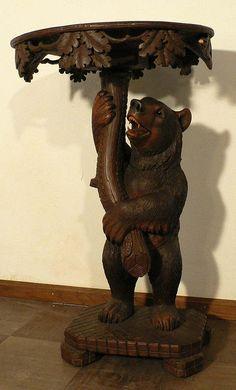 black forest carved bear side table