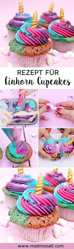 Einhorn Cupcakes backen – Einfaches Muffin Rezept. Diese süßen Einhorn Muffins sind schnell gemacht und der Hit auf jedem Geburtstag oder Party. Hier findest du ein einfaches Rezept, das jeden Einhorn-Fan glücklich machen wird!