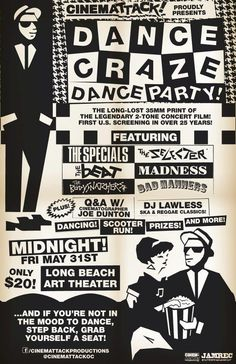 Dance Craze Ska Dance Party and Screening Rock Posters, Concert Posters, Music Posters, Skinhead Reggae, Skinhead Girl, The English Beat, Ska Music, Ska Punk, Rude Boy