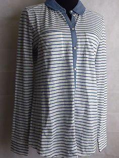 Ann Taylor LOFT Chambray Striped Button Down long sleeve Shirt Knit Top Size S