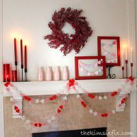 Red, White and Pink Valentine's Day mantel