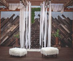 Rustic meets Industrial! Pictured here our Cricket Rug and Mar-Mac Ottomans as featured on @PUMPmagazine Bridal Edition - (Venue: @boozebros @woodshedvenue | Photography: @photosbystacey | Visionary Lead Designer & Cake Artist: @lauramariescakes | Furniture Rentals: @sweetsalvagerentals | Signage: @jennandjulesdesigns | Desserts: @le_parfait_paris | Bridal Bouquet  Vegan Faux Fur: @floralstudiobyfiorib | Altar Greenery: @kwasneydesigns | Headpieces  Accessories: @sandranicoledesigns…