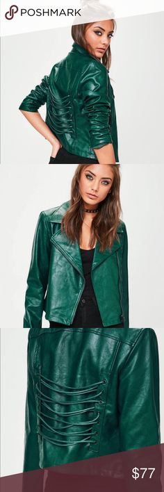 "NWT Metallic green corset back biker jacket Brand new corset laced jacket in a gorgeous deep metallic green.  Branch out from black with this unique take on the usual moto jacket. 100% polyurethane for a shiny leather look.   Approx. length: 21""  Model is wearing US size 4. Jackets & Coats Utility Jackets"