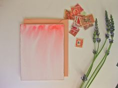 diy project: hand-painted valentines via design sponge Valentines Design, Valentine Day Cards, Diy Ombre, Homemade Valentines, Watercolor Cards, Watercolour, Idee Diy, Paper Crafts, Hand Painted