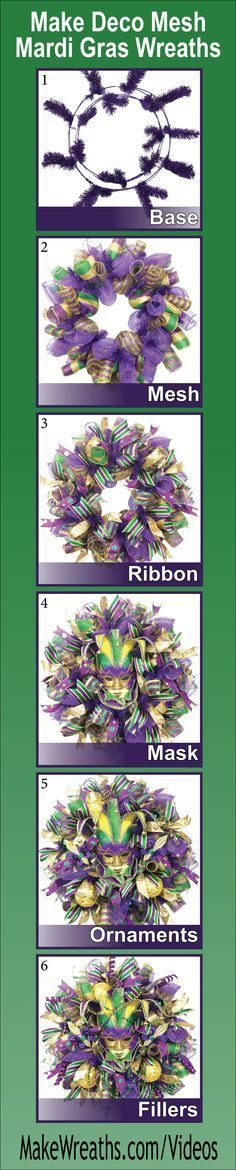 """""""SAVE MONEY AND MAKE YOUR OWN!...Learn step-by-step how to make SPECTACULAR Deco Mesh Mardi Gras Wreaths. Learn to make a perfect base using THREE types of mesh, add ribbon, masks, ornaments and throw beads.  List of supplies and vendors included. Click the picture to get FULL ACCESS... #decomesh #wreaths #DIY #mardigras"""