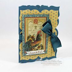 #Graphic45 French Country Card using #Spellbinders to create the shaped base and #TheRubberCafe' stamp for the sentiment!