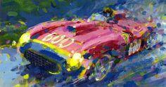 "Juan Manuel Fangio Ferrari 290 MM Mille Miglia 1965 (acrylic on paper 7"" x 12"")"