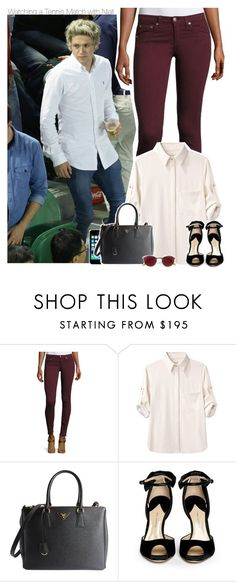 """Watching a Tennis Match with Niall"" by xcuteniallx ❤ liked on Polyvore featuring rag & bone/JEAN, rag & bone, FingerPrint Jewellry, Prada, Paul Andrew and Ray-Ban"
