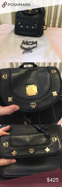 Authentic Black leather MCM backpack Vintage Authentic Black leather MCM backpack in lovely condition a bit of oxidation on hardware shown in photos MCM Bags Backpacks