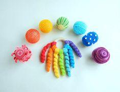 Montessori sensory balls Rainbow baby rattle wooden teether ring Baby development toys Toddler activity Baby Sensory Toys, Montessori Baby Toys, Crochet Ball, Crochet Toys, Organic Baby Toys, Newborn Toys, Rainbow Crochet, Activity Toys, Developmental Toys