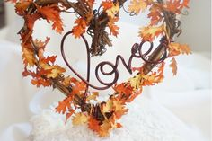 Most up-to-date Free of Charge Fall Leaves Love Cake Topper, Autumn Wedding Decor Fall Wedding Cakes, Wedding Dj, Wedding Reception Decorations, Wedding Cake Toppers, Wedding Centerpieces, Dream Wedding, Wedding Advice, Reception Ideas, Handmade Wedding Decorations