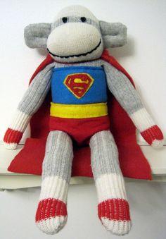 Superman the customized superhero Sock Monkey plush on Etsy, $52.98
