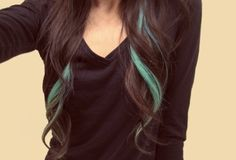 I would absolutely love to have long, dark brown hair with a strand of teal or light blue!<<< I have the long brown hair but I'd love the streaks!