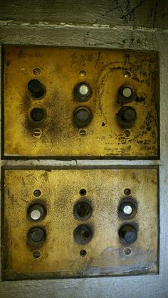 The old push button light switches in The Strand Theater.