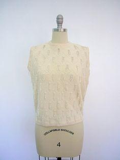1960s Beaded Sweater / Sleeveless / Vintage 60s
