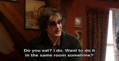 Funny pictures about Pick up line for the socially awkward. Oh, and cool pics about Pick up line for the socially awkward. Also, Pick up line for the socially awkward. Dylan Moran, Romantic Pick Up Lines, Pick Up Lines Cheesy, Uber Humor, British Comedy, British Humor, Black Books, Make New Friends, The Funny