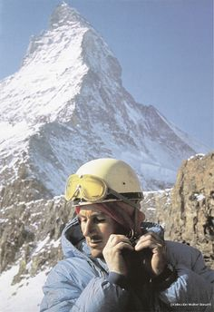 Walter Bonatti in 1965 prepares to climb the north face of the Matterhorn in the winter, alone. The north face of the mountain at the time had no direct route for climbing the north face. Bonatti changed that and subsequently trekked his own route, the first route, up the north face of the mountain later called the Bonatti Route. Its summit is 4,478 meters (14,690 ft) high, making it one of the highest peaks in the Alps.
