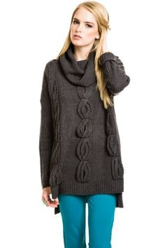 Romeo & Juliet Couture Thickly Knitted Braided Turtleneck Sweater in Charcoal : Sweaters