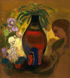 """stilllifequickheart: """" Odilon Redon Vase of Flowers 1913 """""""