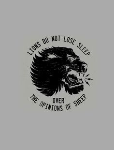 Lions do not lose sleep over the opinions of sheep.