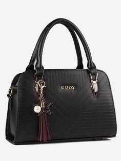 841ecad6105b bag · Striped Seam With Pendant Tote