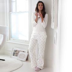 #Cosy Ruffle Trim Pyjama Top | The White Company