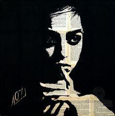 Maybe - Картина,  65x66x2 cm ©2015 - Layla Oz -                                                                                                                                    Иллюстрация, Минимализм, Портретная живопись, Бумага, Холст, Женщины, Мода, Люди, Портреты, black and white portrait, noir et blance, girl, femme, feminine portrait, portrait de femme