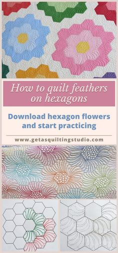 Learn to quilt hexagon quilts. Download printable hexagon flowers (simple and double) and practice quilting feathers on hexagons.