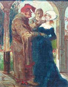 Présentation d'une jeune femme à un vieux bourgeois - scène médiévale. Huile sur toile 33x27cm. SbG. GALERIE KIWIOR, Strasbourg