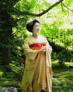 Maiko is Katsuna. Shooting location is garden of Eishoin Temple. #japan #kyoto #geisha #geiko #maiko #kimono #japanese culture