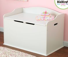 Austin Toy Box in White is such a clean, crisp look     Safety hinge on the lid protects little fingers from getting pinched.     Personalization is available for 10.00 more. Up to 12 characters. Three font choices and five color choices.     Toy box is also available in gray, blueberry, red, natural, pink and bubblegum. Mix and match to create your own look     Assembly instructions included.     30.55L x 18.27W x 19.6H