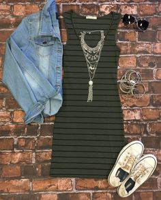 Ribbed Striped Tank Dress: Olive from privityboutique - Adultish Shirt - Trending Adultish Shirt for sales. - Ribbed Striped Tank Dress: Olive from privityboutique Fall Winter Outfits, Autumn Winter Fashion, Spring Outfits, Spring Clothes, Spring Fashion, Casual Outfits, Cute Outfits, Fashion Outfits, Women's Fashion