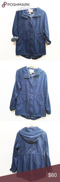 """American Rag chambray jacket NWT. Various sizes American Rag chambray hooded jacket. Roll up sleeves with snap attatchments. Drawstring waist, 2 front pockets. Size small measurements: underarm to underarm 17"""", length 27"""". Medium underarm to underarm 19"""", length 28"""". American Rag Jackets & Coats"""