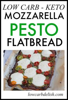 This delicious, low carb mozzarella pesto flatbread tastes so good, you won't even know it's low carb! It's perfect for keto too! Low Carb Appetizers, Low Carb Dinner Recipes, Keto Recipes, Keto Dinner, Pizza Recipes, Diabetic Recipes, Healthy Recipes, Low Carb Bread, Keto Bread