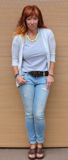 Shades Of Gray...And A Bit Of Brown gray tee shirt, gray cardigan, deconstructed skinny jeans, brown platform sandals, neon statement necklace