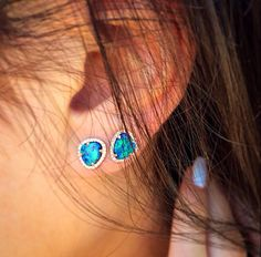 14kt gold and diamond Petite Triangle opal studs – Luna Skye by Samantha Conn