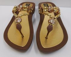 896d192bf25eb GRANDCO SANDALS Beach Pool THONG BROWN Dressy BLING FROSTED Jeweled Flip  Flops