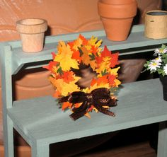 Dollhouse Miniature Autumn Wreath Fall Leaves Accessories Decoration 1/12th Scale $8.99