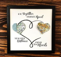 ~DETAILS~ This adorable print will let your someone special know that your love knows no distance.  This piece connects two map hearts just as love connects two people no matter where they are. The hearts for each each piece show maps of the cities of you and your closest loved one, so no two pieces will be exactly alike. These maps are cut from physical map books, giving them a nostalgic feel.  This framed print is 8 inches by 8 inches. The artwork comes in an open frame with no glass, as…