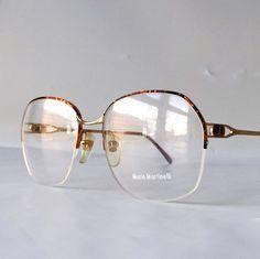 9c00cbfce8 vintage 90 s NOS half rim round eyeglasses metal gold frames tortoise shell  modern retro eye glasses
