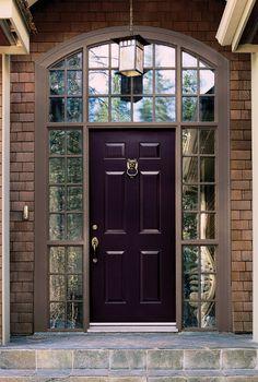 Elegant Dark Purple Front Door Colors Brick Wall Granite Tile Floor. #doors #entrance #doordesign