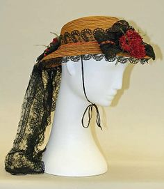 Hat 1863, French, Made of straw